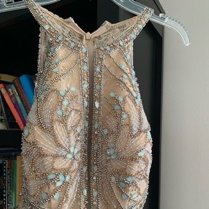 Aqua and gold/ cream prom/ formal gown size 2